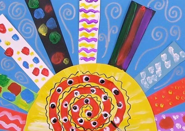 儿童创意粘贴画多彩的太阳,陪宝宝一起来玩吧!