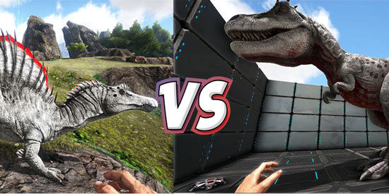 方舟生存进化恐龙对比 棘背龙VS霸王龙