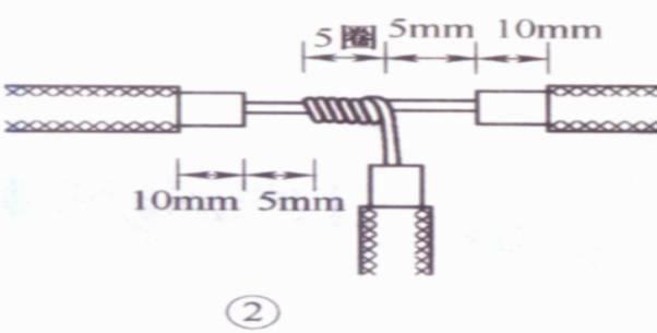 导线的连接情况有: 单股铜芯导线的直线连接、T字形连接; 双股线的对接; 多股铜芯导线的直线连接、T字形连接; 不等径铜导线的对接; 单股线与多股线的T字分支连接; 软线与单股硬导线的连接; 铝芯导线用压接管压接; 铝芯导线用压接管压接。 1 单股铜芯导线的直线连接  先将两导线芯线线头成X形相交。  互相绞合2~3圈后扳直两线头。  将每个线头在另一芯线上紧贴并绕6圈,用钢丝钳切去余下的芯线,并钳平芯线末端。 2 单股铜芯导线的T字形连接  将支路芯线的线头与干线芯线十字相交,在支路芯线根部留出5mm