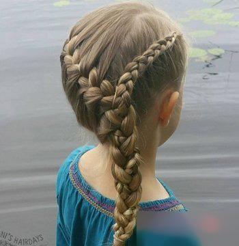在2018年妈妈给小女孩梳优雅简单公主头发型的时候,不妨将编发元素图片