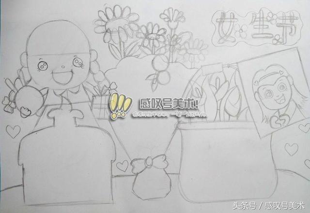 """精美的""""女生节""""手抄报作业,简单易学,快跟着老师一起绘画吧"""