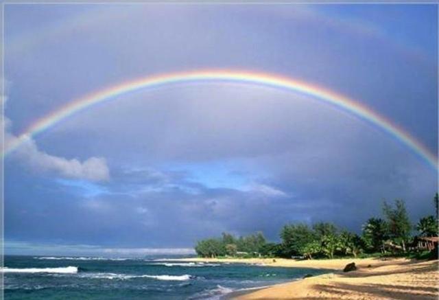 描写彩虹的古诗词精选,古诗初上日,瀑水喷成虹香炉的情趣儿童袁枚写图片