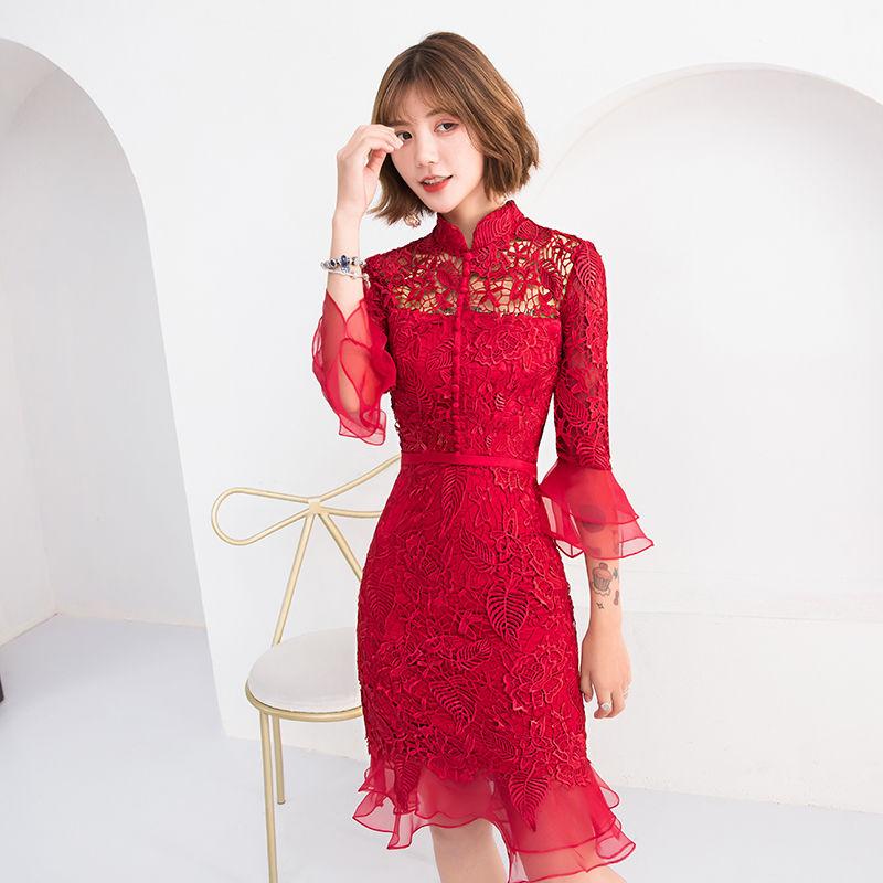 宴会小晚礼服裙女2018新款夏主持人蕾丝刺绣