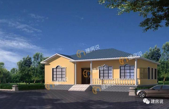 【现代简约风】别墅蓝色坡屋顶和米色真石漆外墙搭配,外观清新典雅