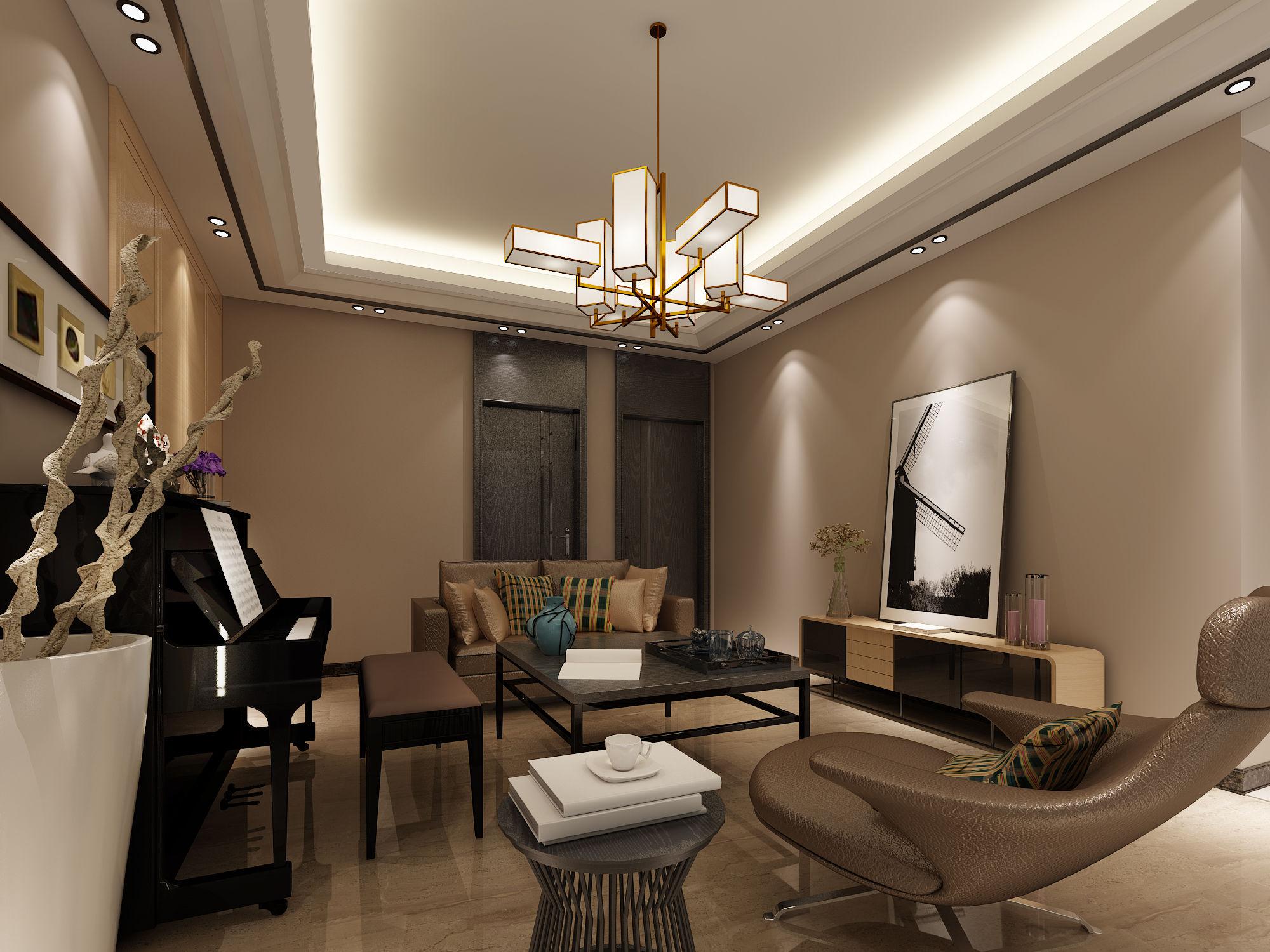 复式楼客厅挑空设计,后现代风格图片