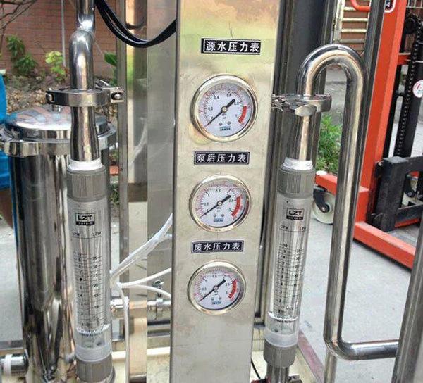 时的水压情况,浓水压力表显示最后一根膜出口到浓水调节阀之间的压力.图片