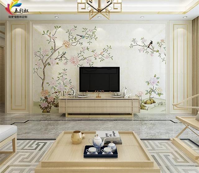 15,新中式风格微晶石背景墙搭配护墙板金属线条装修效果图