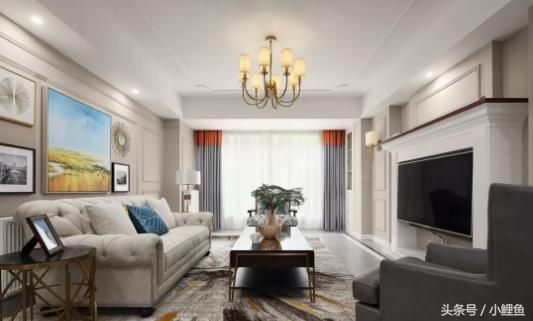 客厅灰色系地砖打一圈波导线,与石膏线造型吊灯呼应,壁炉电视背景墙